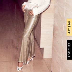 New Free people the Minx gold sequin pants